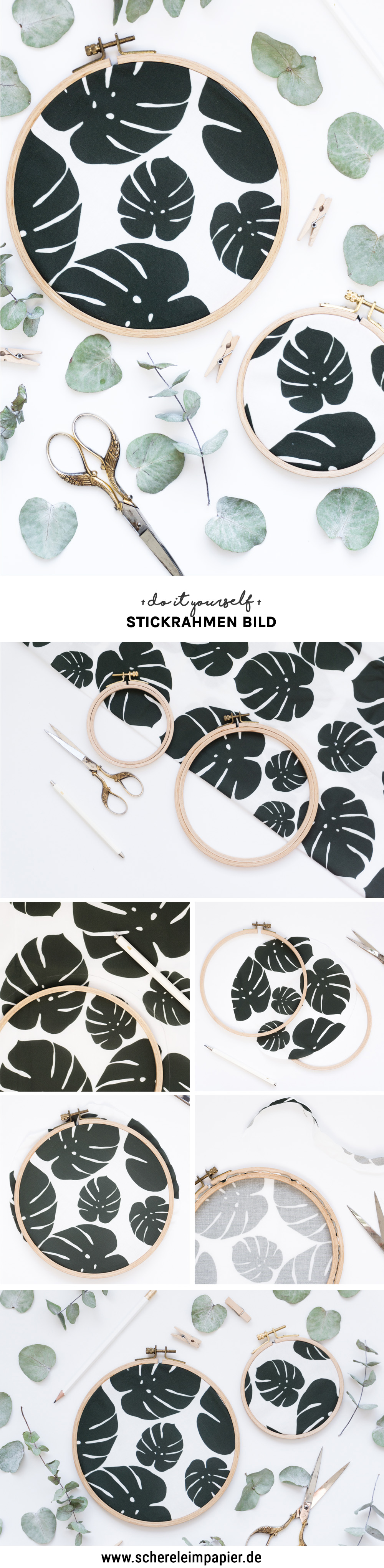 diy stoff bedrucken schereleimpapier dy blog upcyling stickrahmen idee kreativ pin. Black Bedroom Furniture Sets. Home Design Ideas