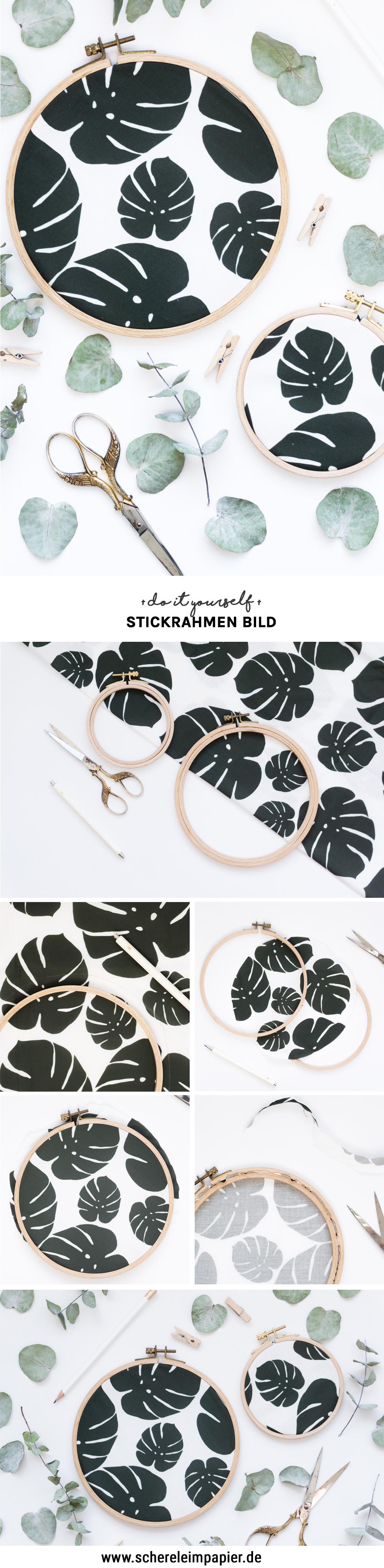 diy stoff bedrucken schereleimpapier dy blog upcyling stickrahmen idee kreativ pin. Black Bedroom Furniture Sets. Home Design Ideas