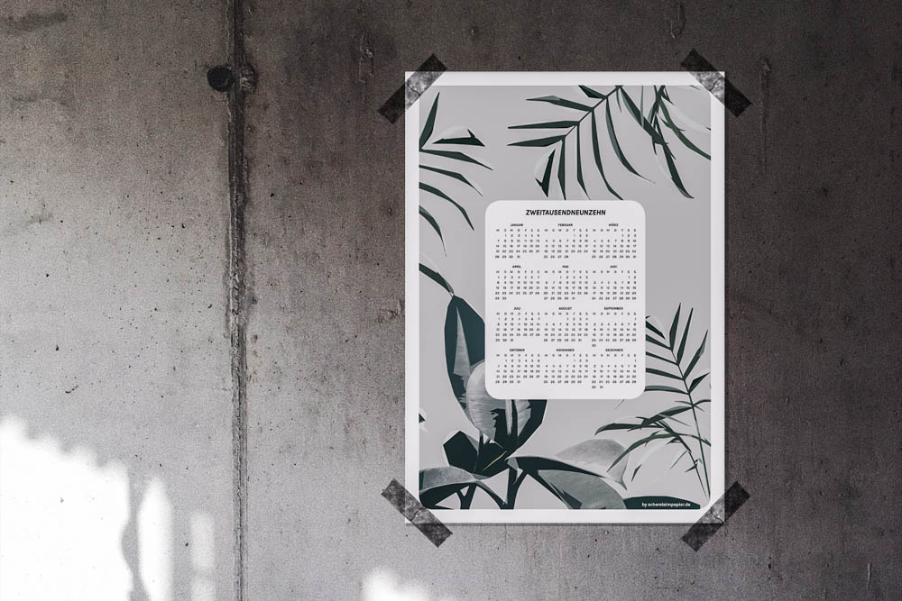 Freebie Kalender 2019 zum Ausdrucken -schereleimpapier DIY Blog kreative Tutorials für DIY Geschenke, DIY Möbel und DIY Deko zum Basteln